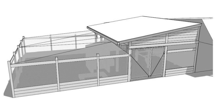 Perspective of the rabbitry + chicken shed